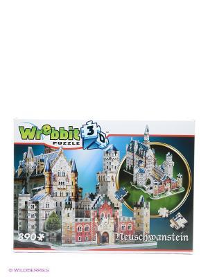 Пазл 3D Замок Нойшванштайн, 890 деталей Wrebbit3D. Цвет: синий, зеленый, серый, красный