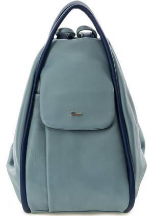 Кожаная сумка-рюкзак с тремя отделами Bruno Rossi. Цвет: синий