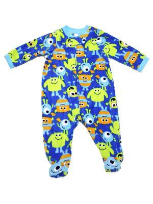 Комбинезон для сна флисовый Веселые монстры Little Me. Цвет: синий, зеленый, оранжевый