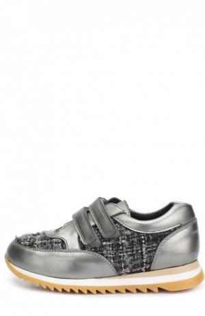 Кожаные кроссовки с текстильной вставкой Clarys. Цвет: серый