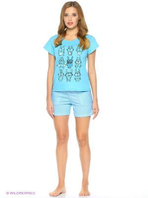 Пижама-футболка, шорты NAGOTEX. Цвет: голубой