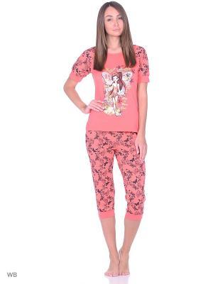 Пижама NAGOTEX. Цвет: коралловый, черный