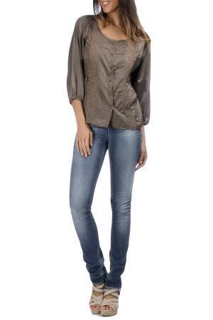 Блуза Laklook. Цвет: коричневый
