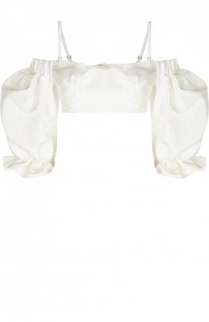 Шелковый кроп-топ асимметричного кроя Alessandra Rich. Цвет: белый