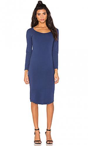 Платье с длинным рукавом core collection MONROW. Цвет: синий