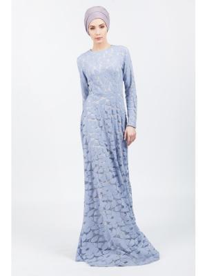 Платье макси Лепестки из гипюра сиреневое Bella kareema