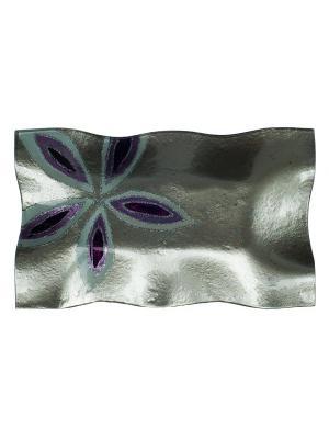 Блюдо 37х22см Elff Ceramics. Цвет: серый, фиолетовый, белый
