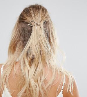 Orelia Золотистая металлическая заколка для волос с бантом. Цвет: золотой