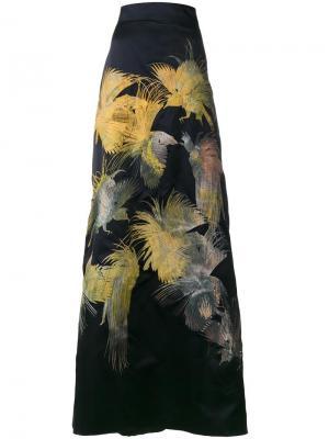 Длинная юбка Dore с вышивкой в виде птиц Alice Archer. Цвет: синий