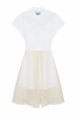 Платье из шелка и хлопка MoS. Цвет: белый