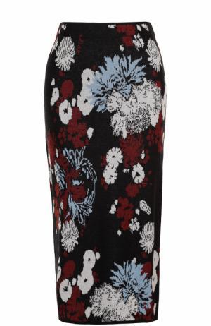 Вязаная юбка-миди с контрастным принтом Dries Van Noten. Цвет: голубой