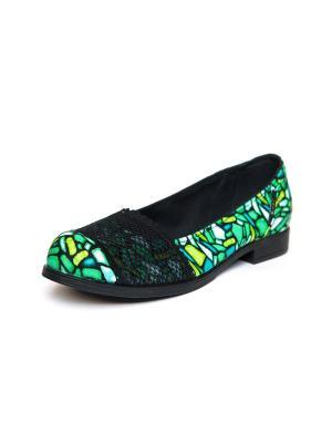 Балетки AZ-ART. Цвет: зеленый, черный