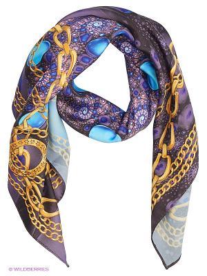 Платок шёлк Жемчужно-драгоценный синий в золотых цепях SEANNA. Цвет: фиолетовый