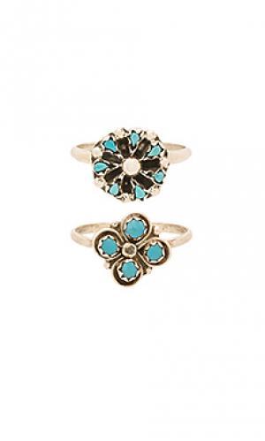 Набор колец cactus clover & mini blossom Natalie B Jewelry. Цвет: металлический серебряный