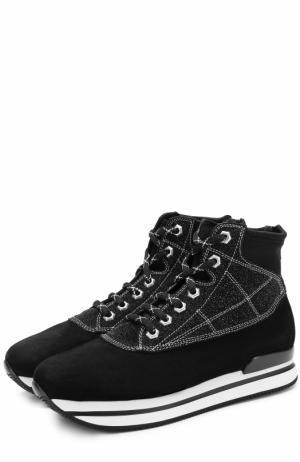 Высокие замшевые кроссовки на шнуровке Hogan. Цвет: черный