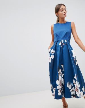 Closet London Платье с принтом на юбке. Цвет: мульти