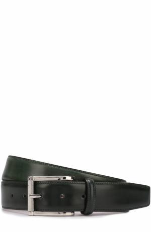 Кожаный ремень с металлической пряжкой Santoni. Цвет: темно-зеленый