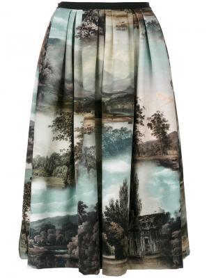 Плиссированная юбка-миди с принтом пейзажа Antonio Marras. Цвет: многоцветный