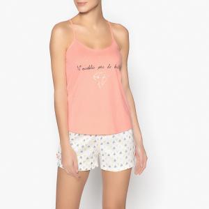 Пижама с шортами надписью из блесток La Redoute Collections. Цвет: оранжево-розовый