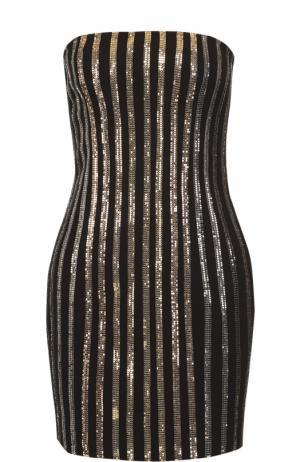 Платье-бюстье с контрастной отделкой Balmain. Цвет: черный