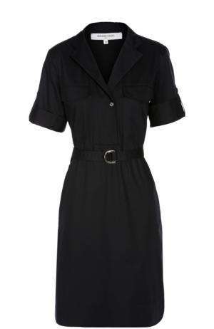Платье рубашка с укороченным рукавом и поясом Gerard Darel. Цвет: темно-синий