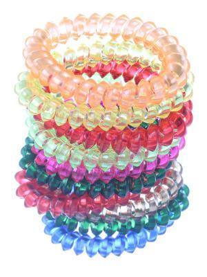 Резинки - спиральки для волос 5 см,  силиконовые, прозрачные разноцветные, 10 штук Радужки. Цвет: синий, зеленый, красный, желтый