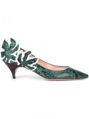 Туфли с эффектом змеиной кожи Rochas. Цвет: зелёный