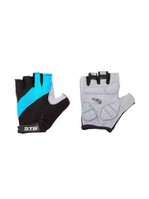 Велоперчатки STG. Цвет: черный, бирюзовый