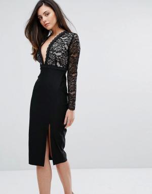 Vesper Кружевное платье-футляр с разрезом и глубоким вырезом. Цвет: черный