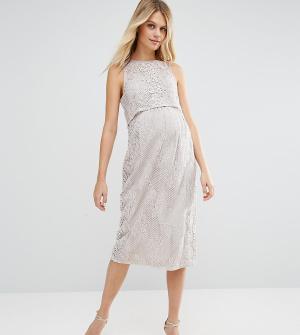 ASOS Maternity Двухслойное кружевное платье для беременных. Цвет: фиолетовый