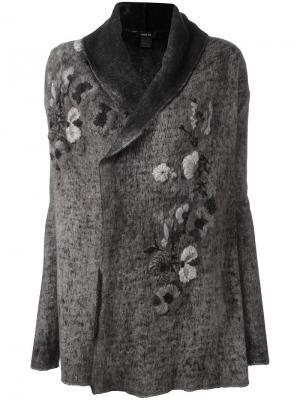 Пальто с цветочной вышивкой Avant Toi. Цвет: серый