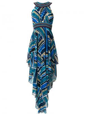 Плиссированное платье халтер с принтом Talitha. Цвет: синий
