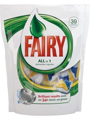 Средство для мытья посуды в капсулах посудомоечных машин All-in-1, 39шт Fairy. Цвет: белый
