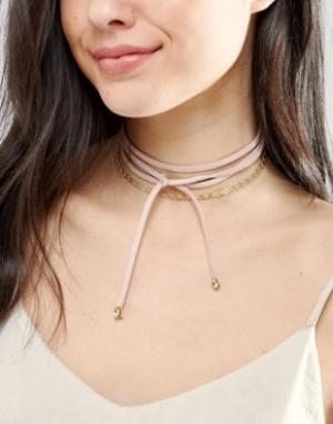 Johnny Loves Rosie Многоярусное ожерелье-чокер с завязкой. Цвет: золотой