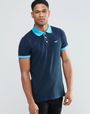 Hollister Темно-синяя футболка-поло с контрастным воротником. Цвет: темно-синий