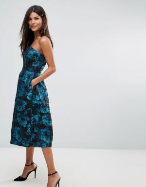 Closet London Жаккардовое короткое приталенное платье-бандо. Цвет: зеленый