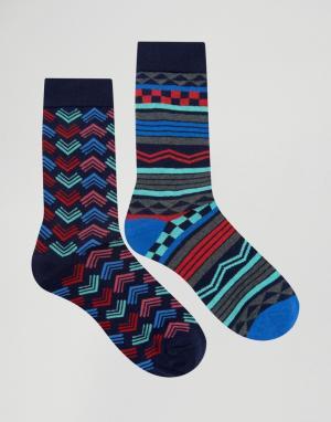 Urban Eccentric Набор из 2 пар полосатых носков. Цвет: мульти