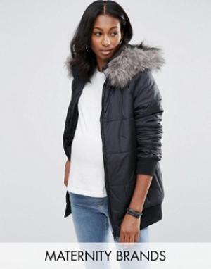 New Look Maternity Стеганая куртка для беременных с меховым воротником. Цвет: черный