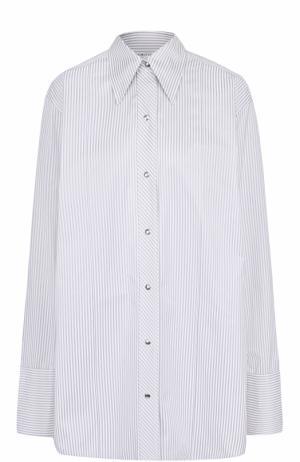 Хлопковая блуза свободного кроя в полоску Helmut Lang. Цвет: серый