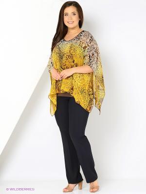Блузка YUVITA. Цвет: коричневый, желтый