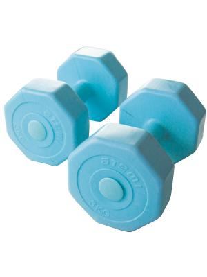 Гантели виниловые 3 кг х 2 шт Atemi, AD-02-6 Atemi. Цвет: голубой