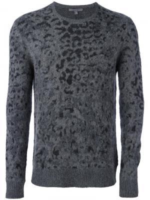 Жаккардовый пуловер с леопардовым принтом John Varvatos. Цвет: серый