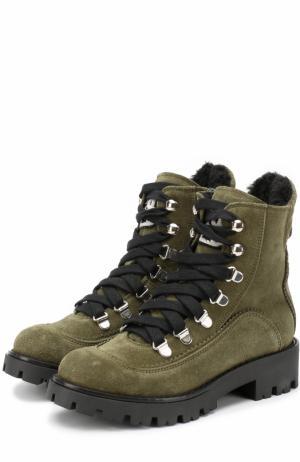 Замшевые ботинки со шнуровкой и с молнией Ermanno Scervino. Цвет: хаки