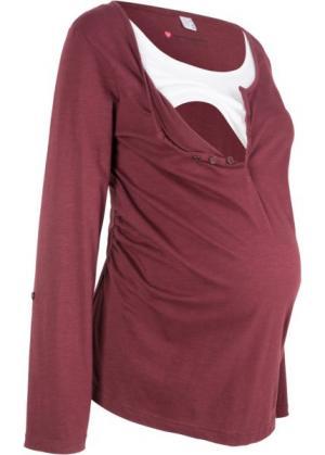 Мода для беременных: футболка с длинными рукавами и функцией кормления (кленово-красный) bonprix. Цвет: кленово-красный