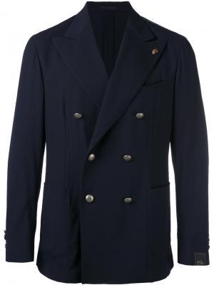 Двубортный пиджак Gabriele Pasini. Цвет: синий