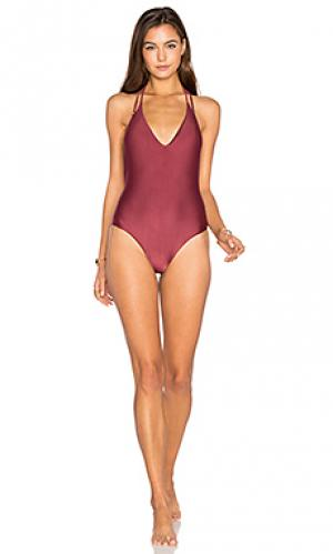 Однотонный слитный купальник piercing Vix Swimwear. Цвет: вишня