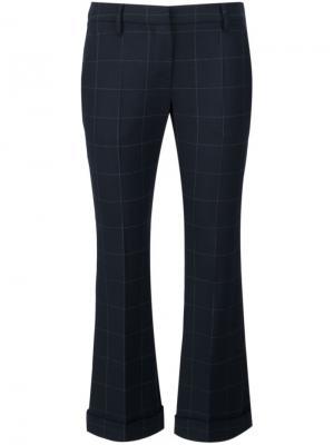 Укороченные брюки в клетку Brunello Cucinelli. Цвет: синий