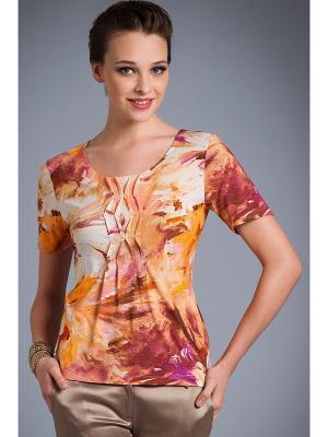 Блузка Арт-Деко. Цвет: оранжевый, коричневый, бежевый