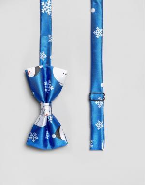 7X Новогодний галстук-бабочка с принтом. Цвет: синий