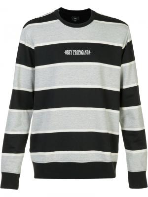 Striped logo sweatshirt Obey. Цвет: чёрный